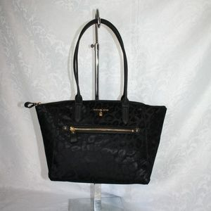 MICHAEL KORS NYLON KELSEY BLACK MEDIUM TOPZIP TOTE